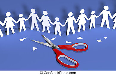 Family social people join community together - Scissors cut...