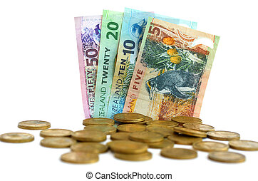 New Zealand Dollar Banknotes and Coins - Collection of New...