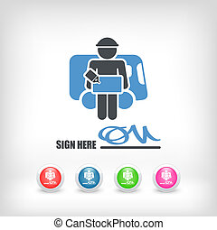 Delivery document sign icon