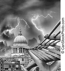 Storm over Millennium Bridge - London