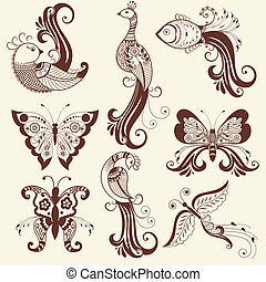 Vector abstract mehndi elements - Vector abstract floral...