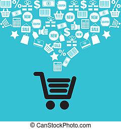 Buy online - buy online over blue background, vector...
