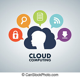 Cloud computing design over gray background, vector...