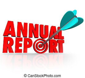Annual Report Arrow in Word Good Financial Performance -...