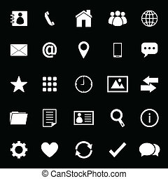 Contact icons on black background, stock vector