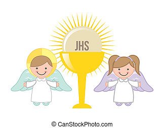 Eucharist design over white background, vector illustration