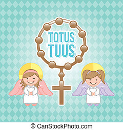 Eucharist design over blue background, vector illustration