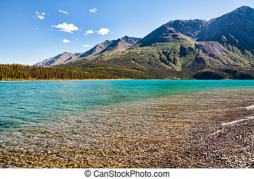 Kathleen Lake in Yukon Territory in summer with blue skies.