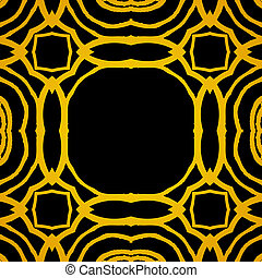 Vector geometric art deco frame with gold shapes