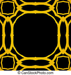 Vector geometric art deco frame with gold shapes on black...