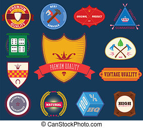Set of flat colored vintage labels. Collection 12