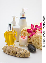 spa theme objects - Close up view of spa theme objects on...