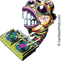 Intense DJ - An intense cartoon DJ mixing music on vinyl...