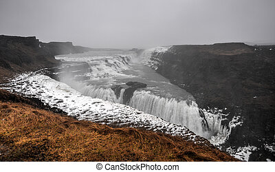 Gullfoss Waterfall, Iceland - Gullfoss waterfall Golden...