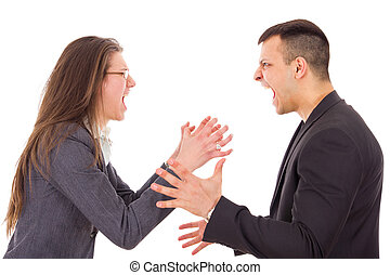 angry couple fighting and shouting at each other -...