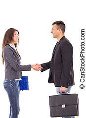 business colleagues shaking hands - satisfied business...