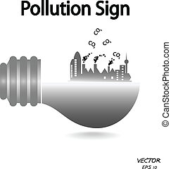 pollution sign,industry icon,green symbol