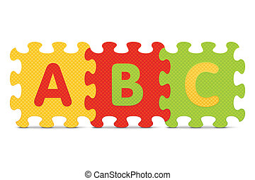 "Vector ABC - ""ABC"" written with alphabet puzzle - vector..."