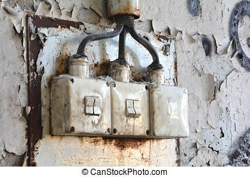Light switch of a disused factory in Magdeburg