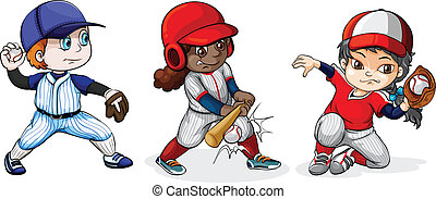Baseball players - Illustration of the baseball players on a...