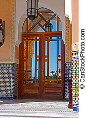 Moroccan doorways - Traditional Moroccan doorways with...