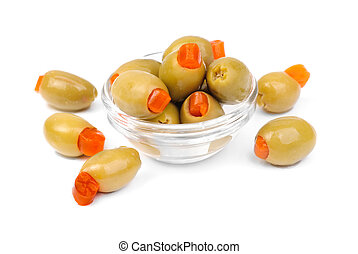 stuffed green olives in glass isolated on white background -...