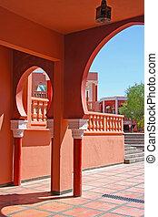 utsirad, marockansk, traditionell, arkitektur, Valv,  Marrakesh