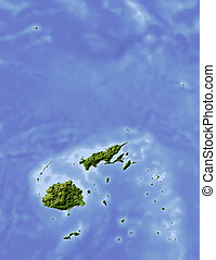 Fiji, shaded relief map. Colored according to vegetation,...