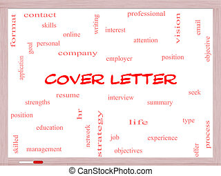 Cover Letter Word Cloud Concept on a Whiteboard with great...