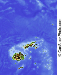 Fiji, shaded relief map Colored according to elevation, with...