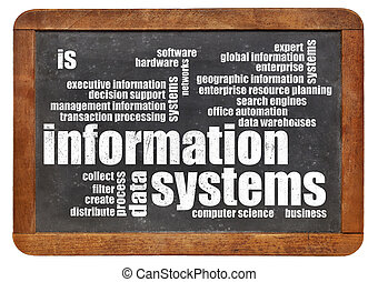 information systems word cloud on a vintage slate blackboard
