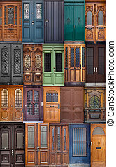 20 different European front entrance doors. set of colorful...