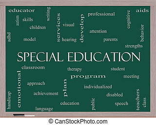 Special Education Word Cloud Concept on a Blackboard