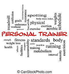 Personal Trainer Word Cloud Concept in red caps with great...