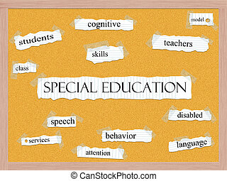 Special Education Corkboard Word Concept with great terms...