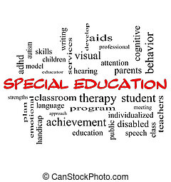 Special Education Word Cloud Concept in red caps