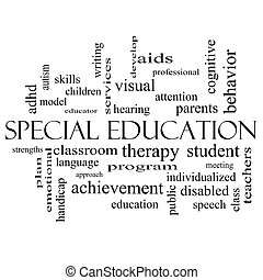 Special Education Word Cloud Concept in black and white