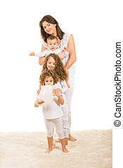 Beautiful family in a row - Beautiful family in white...