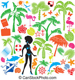 Set of summer, travel and vacations symbols - silhouettes of...