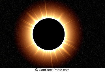 Eclipse of the Sun - Total eclipse with the suns rays...