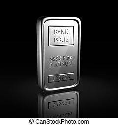Platinum ingot on black background with reflection