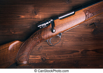 Fusil chasse, bois, fond