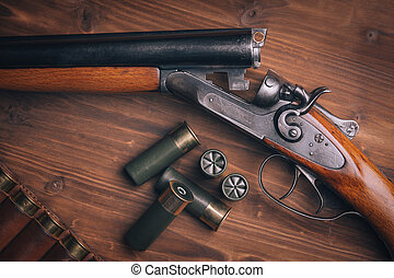 Fusil chasse, coquilles, bois, backg