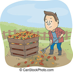Compost Bin Man - Illustration of a Man Dumping Dry Leaves...