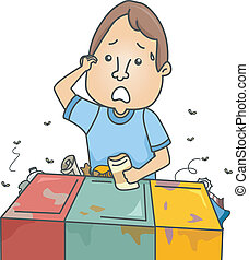 Confused Recycling Guy - Illustration of a Confused Man...
