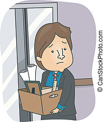 Man Fired from Work - Illustration of a Man Taking His...