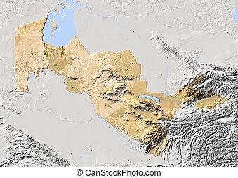 Uzbekistan, shaded relief map Colored according to...