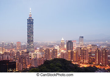Taipei Skyline - Taiwan - Night view of Taipei`s downtown