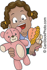 Girl Play Invite - Illustration of a Little Girl Carrying...