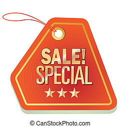 sales - an orange icon with some text for sales purposes